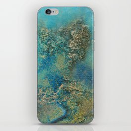 Blue And Gold Modern Abstract Art Painting iPhone Skin