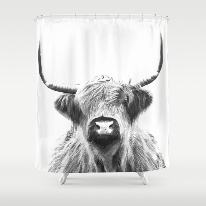 Black and White Highland Cow Portrait Shower Curtain