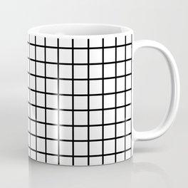 fine black grid on white background - black and white pattern Coffee Mug