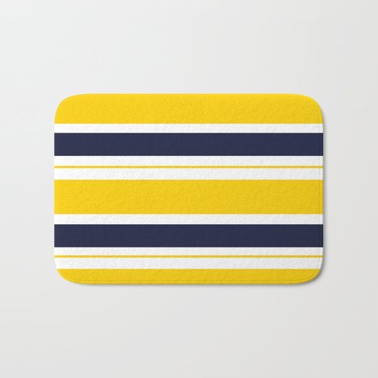 Yellow and Blue Horizontal Lines Stripes Bath Mat