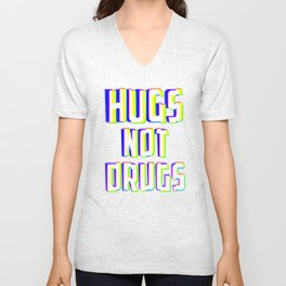 Hugs Not Drugs TV Glitch Effect - Anti-Drug Awareness Gift Unisex V-Neck