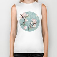 cherry blossoms Biker Tanks featuring Cherry-Blossoms by Niloufer