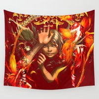 fairies Wall Tapestries featuring The fairies remain beyond heavens by shiva camille