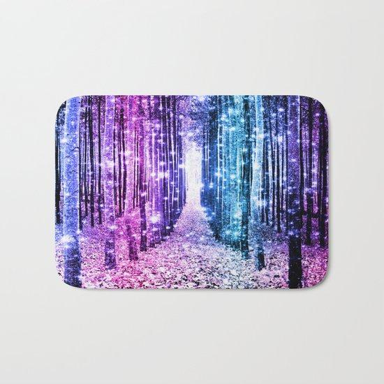 Magical Forest : Aqua Periwinkle Purple Pink Ombre Sparkle Bath Mat
