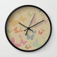 butterflies Wall Clocks featuring Butterflies by Judy Palkimas