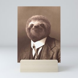 Gentleman Sloth in Sepia Tone Mini Art Print