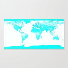 world MAp Aqua Blue Canvas Print