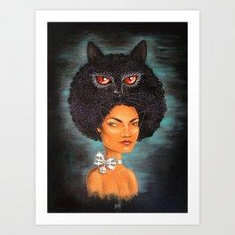 Cat; Woman Art Print