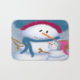 The SnowMomma And SnowGirl Bath Mat