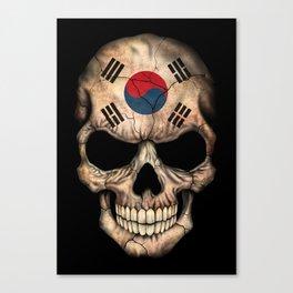 Dark Skull with Flag of South Korea Canvas Print