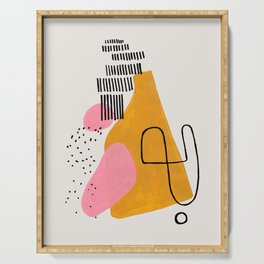 Mid Century Art by Enshape Ejaaz Haniff 'Party Champagne' Fun Colorful Yellow Pink Abstract Minimal Shape Line Patterns Serving Tray