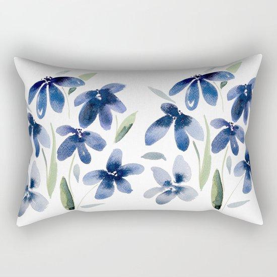 Blue watercolor flowers  Rectangular Pillow