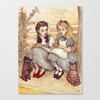 facebook Canvas Prints featuring Dorothy and Alice by Helen Green