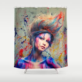 Young woman muse with creative body art and hairdo (3) Shower Curtain