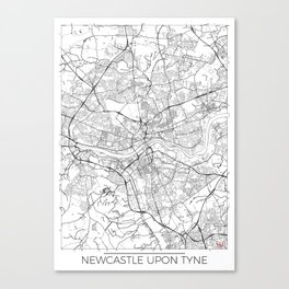 Newcastle Upon Tyne Map White Canvas Print
