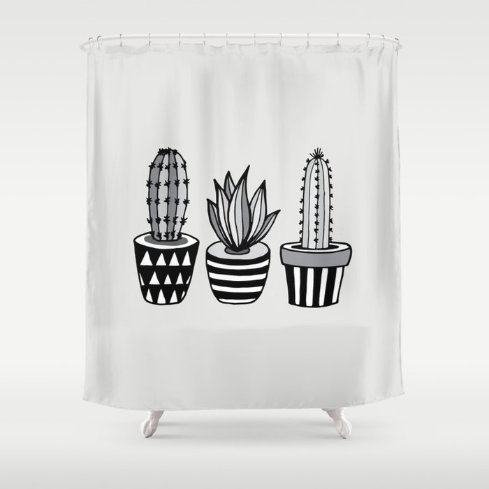 Cactus Plant monochrome cacti nature greyscale illustration floral succulent leaf home wall decor Shower Curtain