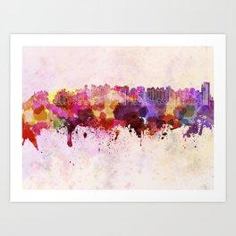 Curitiba skyline in watercolor background Art Print