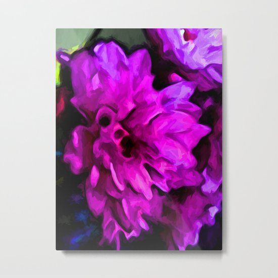 Lavender and Pink Flower with some Blue Metal Print