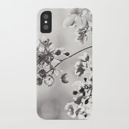 Black and White Floral Photography, Grey Neutral Nature Art, Light Gray Botanical Flower Photo iPhone Case