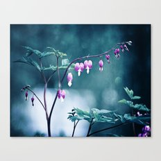 Bleeding Hearts Flower Photography, Navy Pink Purple Floral Nature Art Canvas Print