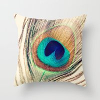peacock feather Throw Pillows featuring Peacock Feather  by Laura Ruth
