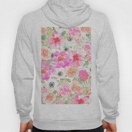 Modern pink coral watercolor hand painted floral Hoody