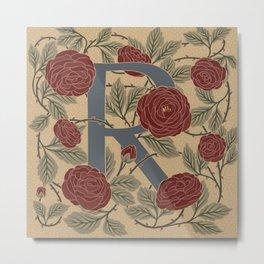 Floral Monogram Letter R Metal Print