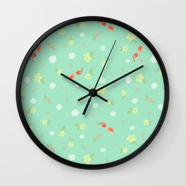 Floral with Birds on aqua Wall Clock