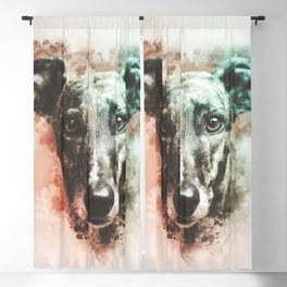 Greyhound Digital Watercolor Painting Blackout Curtain