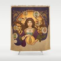 madoka magica Shower Curtains featuring Lanterna magica by LauraSava