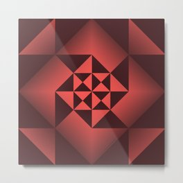 Abstract Triangles - Ruby Metal Print