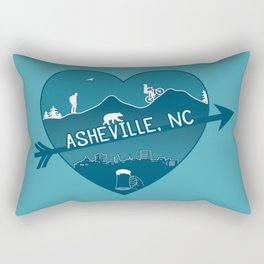 Asheville, NC - AVL 8 Blue on Blue Rectangular Pillow