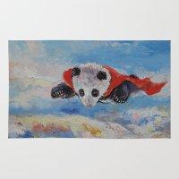 superhero Area & Throw Rugs featuring Panda Superhero by Michael Creese