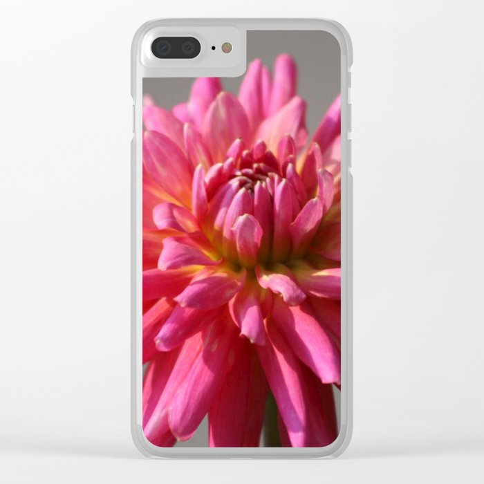 Colorful Dahlia Flower Bloom Clear iPhone Case
