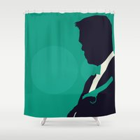 skyfall Shower Curtains featuring Minimalist Bond: Skyfall by Tyler Bramer