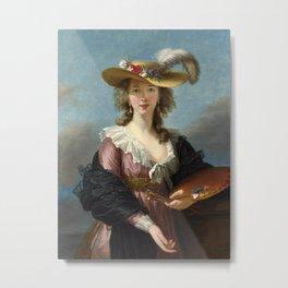 Louise Élisabeth Vigée Le Brun - Self Portrait in a Straw Hat Metal Print