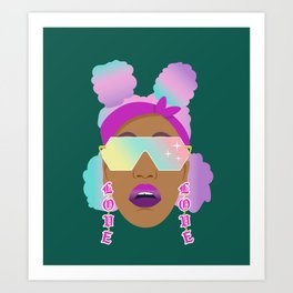 Top Puffs Girl #naturalhair #rainbowhair #shades #lipstick #blackunicorn #curlygirl Art Print