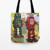 robots Tote Bags featuring Robots by Five Ate Five Studios