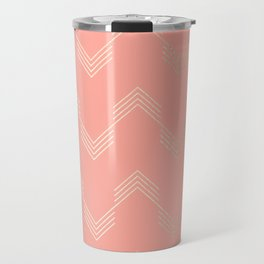 Simply Deconstructed Chevron White Gold Sands on Salmon Pink Travel Mug