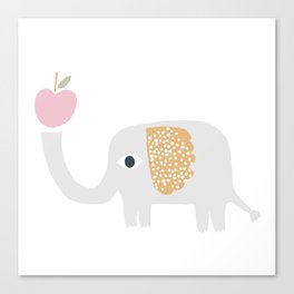 elephant with apple Canvas Print