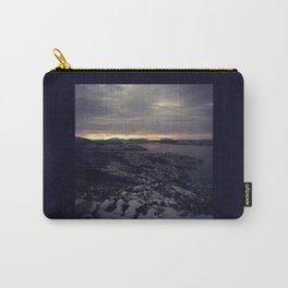 Winter morning, view of a city, sea and mountains Carry-All Pouch