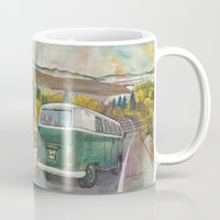 vw bus Mugs featuring VW Bus on Mountain Road by Barb Laskey Studio