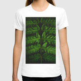 Close Up Of A Green Fern Leaf Intricate Patterns In Nature Against A Black Background T-shirt