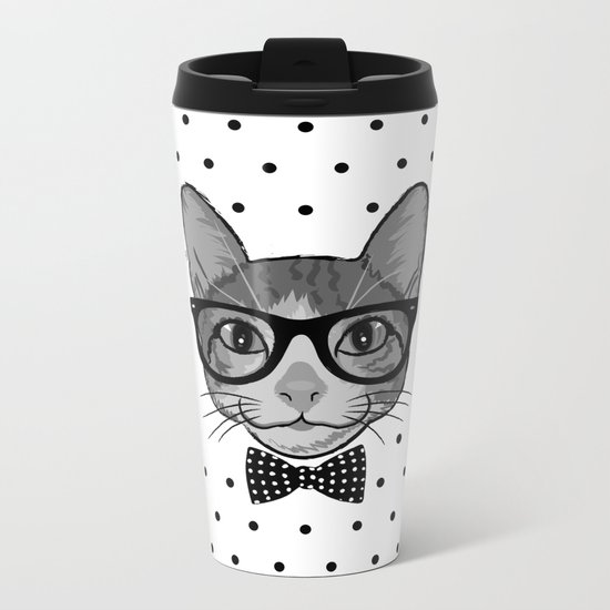 Cat Hipster With Bow Tie - Polka Dots Pattern Metal Travel Mug
