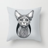sphynx Throw Pillows featuring Sphynx cat by SilviaGancheva