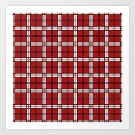Red and white plaid Art Print
