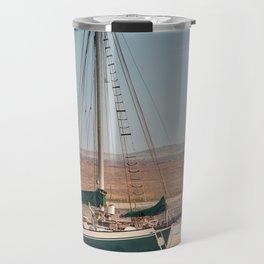 Sail boat stranded at low tide Travel Mug