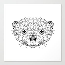Asian Small-Clawed Otter Head Drawing Canvas Print