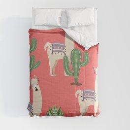Llama with Cacti Comforters