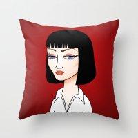 mia wallace Throw Pillows featuring Mia Wallace by Pendientera